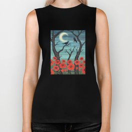 crows, fireflies, and poppies in the moonlight Biker Tank