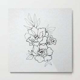 Peony Blossoms Vertical - Black Metal Print