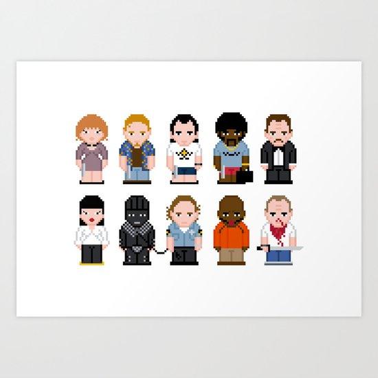 Pixel Pulp Fiction Characters Art Print
