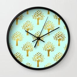 Mint Gold Foil 02 Wall Clock