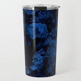 winter flowers seamless pattern 01 big dark blue Travel Mug