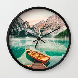 Boats on the lake Wall Clock