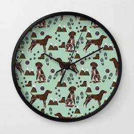 German Shorthair Pointer mountain hiking hiker outdoors camping dog breed Wall Clock