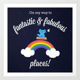 Milo Blue Cat Space Pizza Box Over Rainbow Art Print