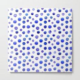 Blue polka dot watercolor pattern Metal Print