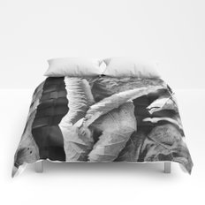 Large Black and White Curled Leaves and Geometric Tile Comforters