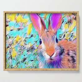 Easter Bunny Pastel Art Serving Tray