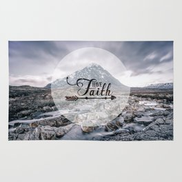Have Faith Inspirational Typography Over Mountain Rug