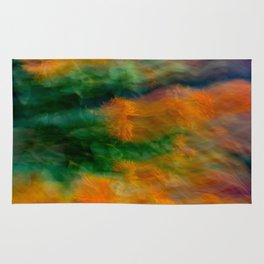 Fleur Blur-Abstract Orange Safflowers & Green Leaves Rug