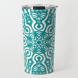 Polish Papercut Dancers Teal Travel Mug