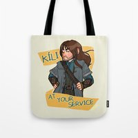 kili Tote Bags featuring Kili at Your Service by Hattie Hedgehog