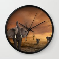 elephants Wall Clocks featuring Elephants by Susann Mielke