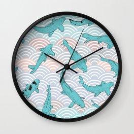 Koi carp. Blue fish. Asian wave circle background Wall Clock