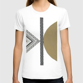 Geometric Shapes with Gold, Copper and Silver T-shirt