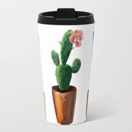 Three Cacti On White Background Travel Mug