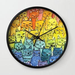 the pride cat rainbow  squad Wall Clock