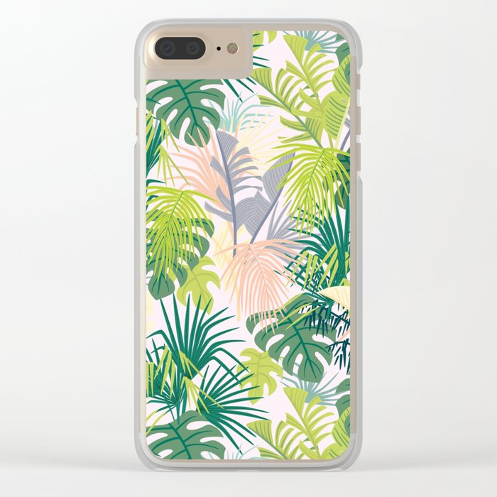 Pink jungle pattern Clear iPhone Case