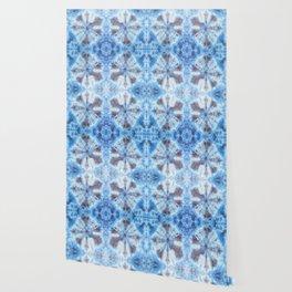 tie dye ancient resist-dyeing techniques Indigo blue brown textile Wallpaper