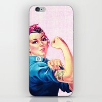 sayings iPhone & iPod Skins featuring Fight Like A Girl Rosie The Riveter Girly Mod Pink by Girly Road