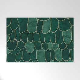 Stratosphere Emerald // Abstract Green Flowing Gradient Gold Foil Cloud Lining Water Color Decor Welcome Mat