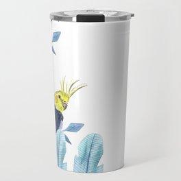 Cockatiel with tropical foliage Travel Mug