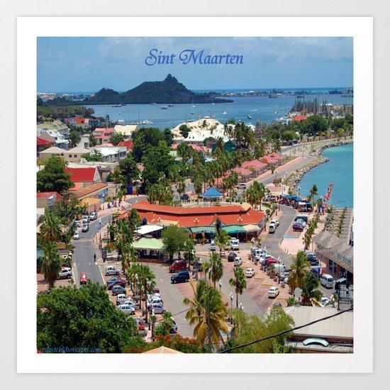 Colorful island and city scenes of Sint Maarten - St. Martin Art Print