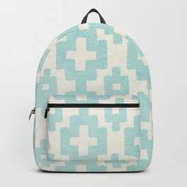 Pastel Marine Blue Turquoise Geometric Watercolor Aztec Pattern Cute Light Hearted Style Backpack