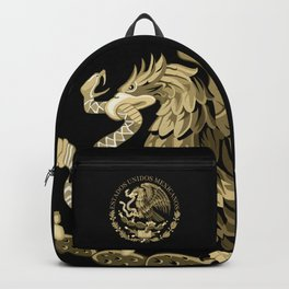 Mexican flag seal in sepia tones on black bg Backpack