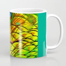 TEAL PEACOCK FEATHERS GOLDEN  DESIGN Coffee Mug