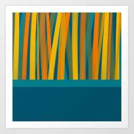 Ribbon Abstract Lined Color Block Cuff Pattern in Moroccan Teal, Blue, Mustard, Orange, and Green Art Print