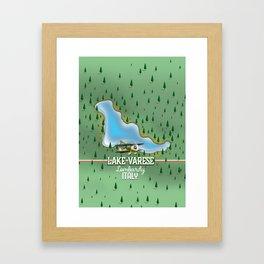 Lake Varese Italian travel poster. Framed Art Print