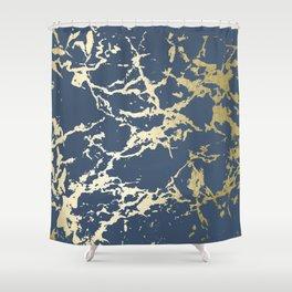 Kintsugi Ceramic Gold on Indigo Blue Shower Curtain