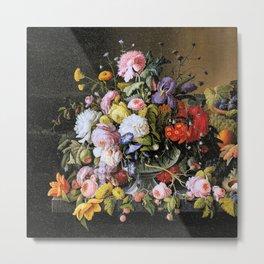 Vintage Varnish- Flowers&Fruit Metal Print