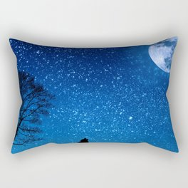 Wolf Howling at the Moon Before the Stars Rectangular Pillow