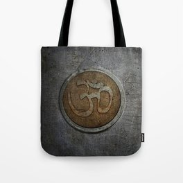The sound of the Universe. Gold Ohm Sign On Stone Tote Bag