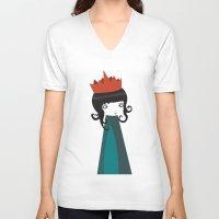 queen V-neck T-shirts featuring Queen by Volkan Dalyan
