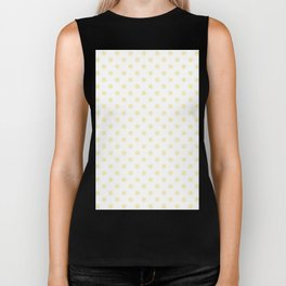 Small Polka Dots - Blond Yellow on White Biker Tank