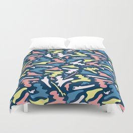 Memphis Style Camouflage Shapes Seamless Vector Pattern, Drawn Duvet Cover