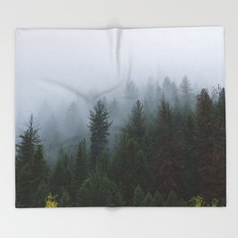Into the Deep, Foggy, Forest Throw Blanket