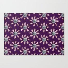 Floral Moon Purple Canvas Print