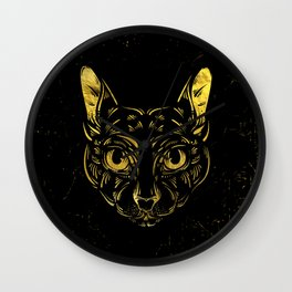 Black and Gold Sphynx Cat on Grunge Egypitan background Wall Clock