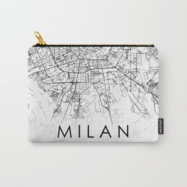Milan City Map Italy White and Black Carry-All Pouch