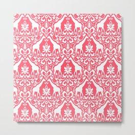 Giraffe Damask Coral Metal Print