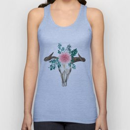 Bohemian bull skull and antlers with flowers Unisex Tank Top