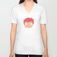 ponyo V-neck T-shirts featuring Ponyo likes you! by Mariotaro