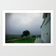 Sadhus on a hill Art Print