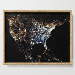 North America and the United States aerial view from outer space color photography / photographs Serving Tray
