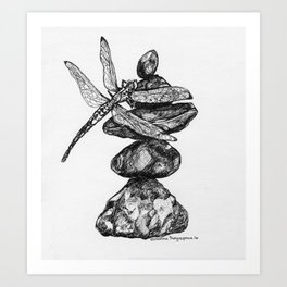 Cairn & Dragonfly - Inktober #8 Art Print