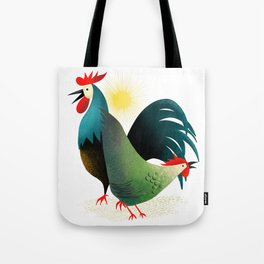 Morning Glory Rooster And Hen Wake Up Call Tote Bag