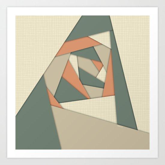 Earth Tone Shapes Construct Art Print